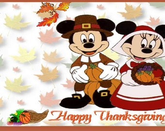 Banner Happy Thanksgiving Mickey Mouse 4ft X 2ft