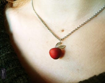 Red Apple necklace. Wood and silver.