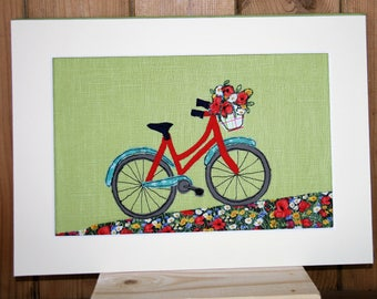 Red bicycle fabric picture