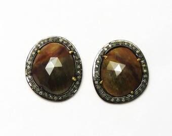 Sapphire earrings, genuine sapphire earrings, sapphire diamond earrings, gemstone , fine earrings, estate jewelry,