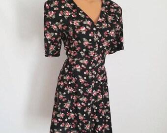 ON SALE Vintage Floral Romper - 1990's Floral Rayon Mini Dress - Boho Festival Fashion - Grunge Onesie - Size Large