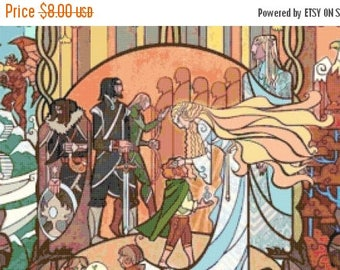"Lotr Counted Cross Stitch WoW pattern lotr needlepoint needlecraft korss Stained Glass pattern - 35.43"" x 17.21"" - L947"