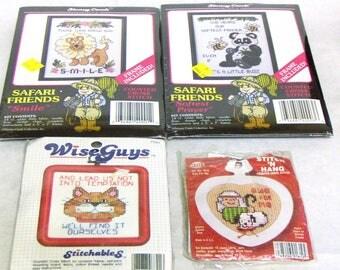 Cross Stitch Kits:  Stoney Creek Collection Safari Friends 'Smile', 'Softest Prayer', Wise Guys #7701, NMI Needlework 'Ewe For Me'