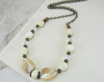 Ivory Necklace, Ivory Bead Necklace, Vintage Style Necklace, Off White Necklace