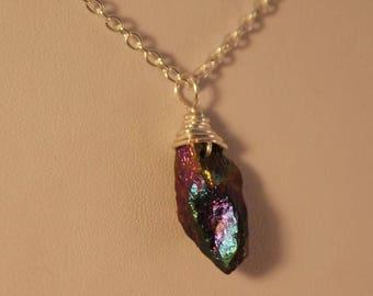 Rainbow quartz pendant, quartz necklace, rainbow quartz necklace, quartz necklace,  raw quartz necklace, titanium coated quartz.