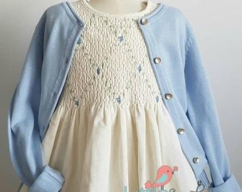 Beautiful hand smocked pinwale corduroy dress - Size 5
