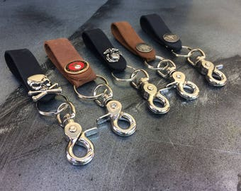 Leather Key FOB, Bikers, Truckers, Hipsters, Keychain, Key Chain, Made in USA.