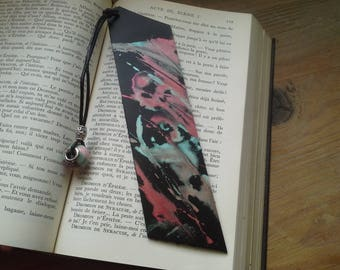 "Leather bookmark painted by hand ""vitality"""