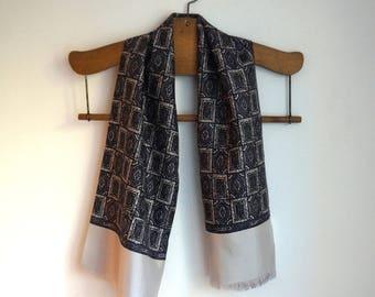 Silk opera scarf,  dark and light gray tile print, wide light gray border, gray viscose lining, men's vintage classic formal accessories