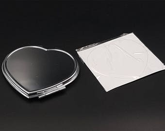Pocket mirror heart to customize and sticker cabochon heart