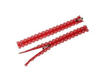 5 zipper 20cm red lace