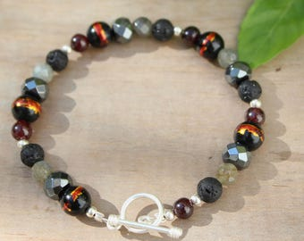 Mens bracelet, Mens stone bracelet, Mens beaded bracelet, Stacking bracelet, Gemstone jewelry, Sterling silver closure Handmade gift for him