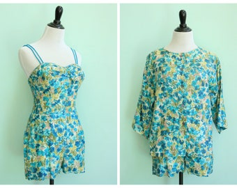 Vintage 1950's Blue Floral Playsuit and Jacket | Size Small