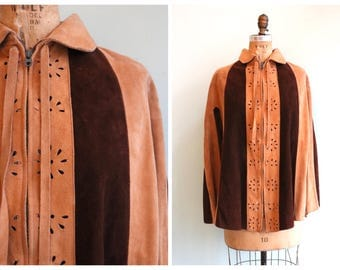 Vintage 1970's Two Tone Suede Cape | Size OSFM