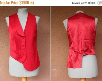 Summer Sale Asymetric Moschino Vest - Vintage Moschino Red Vest - Size S