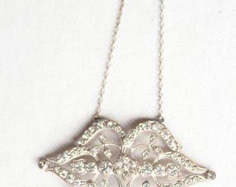 SUMMER SALE Art Deco 1910 Necklace Rhinestone Pendant
