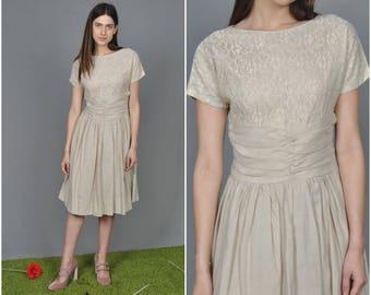 1950s Beige Cotton Lace dress | vintage 1950s dress | beige cotton lace 50s dress