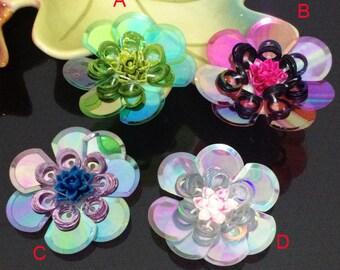 """5CM  1.96"""" wide 20pcs colorful sequins beads ceramic flower foral clothes dress bag shoes appliques patch M57Q5 free ship"""