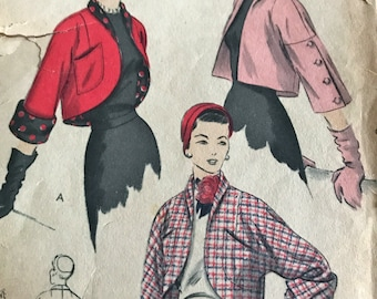 Vintage 1950's Bolero Pattern With Variations---Vogue 7006---Size 18  Bust 36