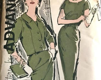 Jackie O Style Jacket and Dress Pattern---Advance 9551---Size 14 1/2 Bust 35