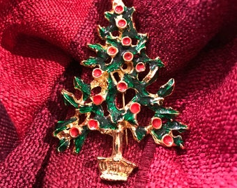 Vintage Green and Red Enamel Gold Tone Metal Christmas Tree Large Brooch/before 1998