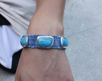Denim and Turquoise Cuff Bracelet