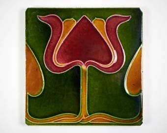 Antique English Boote Art Nouveau majolica tulip pottery tile c.1905