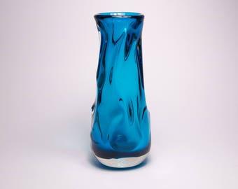 Vintage 1970s Whitefriars kingfisher blue Knobbly glass vase