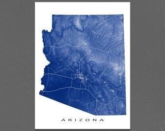 Arizona Map Print, Arizona State Outline Map Poster, AZ, Landscape Art