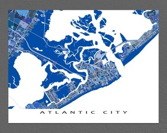 Atlantic City Map Print, Atlantic City New Jersey, Wall Art Maps