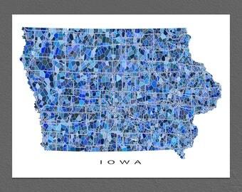 Iowa Map Art, Iowa Print, IA State Maps