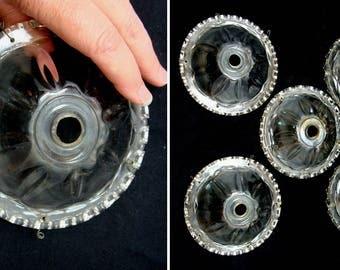 Vintage glass bobeche lot-large old chandelier bobeche lot - vintage candleholder bobeche - glass prism holder - chandelier prism bowls lot