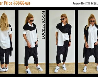 ON SALE Black Harem Pants / Loose Linen trousers / Low bottom pants