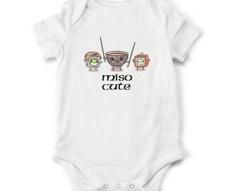 20% OFF SALE Baby gift - Miso Cute baby bodysuit, Sushi baby bodysuit, Funny baby shower gift