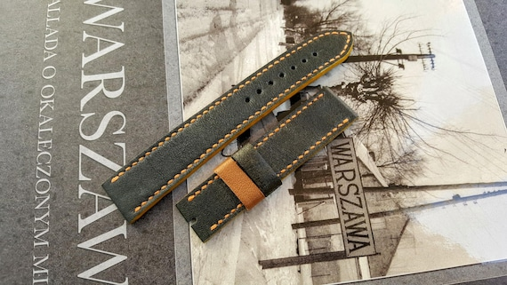 Genuine Leather of Old Jacket - Handmade Watch Strap 06