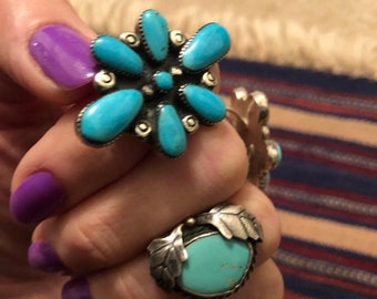 Vintage Native American Sterling Silver and Turquoise Cluster Ring