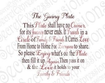 Giving Plate Svg, Family Svg, Friendship Svg Giving Svg, Christmas Svg, Digital Cutting File DXF JPEG SVG Cricut, svg Silhouette, Print Fil