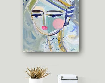 Portrait PAINTING  woman art impressionist modern abstract girl on ORIGINAL Blu Girl 10