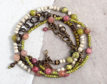 Pink and green stone wrap bracelet or necklace, Lepidolite jewelry with African trade beads, Pink choker with charms One of a kind gift boho