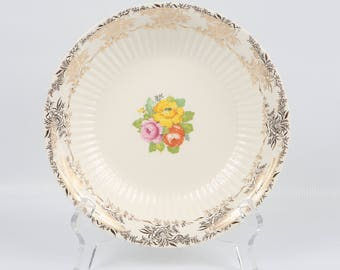 "1940's Royal China Sebring Ohio, USA, ""VIDA"", Soup Salad Bowls, Near MINT Cond., 7-7/8"" W X 1-1/4"", Yellow, Pink, Orange Flowers on White"