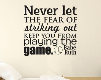 Sports Wall Decal, Boys Bedroom Decal, Babe Ruth, Bedroom Wall Decal,  Baseball