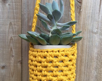 Crochet plant hanger, hanging plant pot, eco friendly planter, recycled plant pot, yellow decor