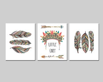 Tribal woodland nursery or playroom printable wall art, little chief nursery baby boy room wall decor with tribal aztec feathers download