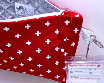 BIG First Aid Bag, 14 x 9.5 x 3.5 WIDE Insulated Medical Supplies Zipper Pouch, Medical Alert Card, Large First Aid Travel Bag
