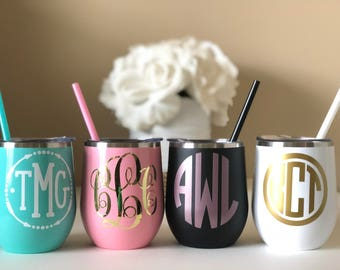Stainless Steel Wine Tumbler 12oz Cup Personalized with Monogram, Lid and Straw, Bachelorette Bridal Wedding Gifts