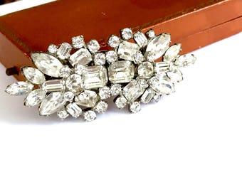 Art Deco Rhinestone Duette Clips, Brooch, Rhinestone Dress Clips, Bridal Jewelry, Vintage 1930s, Art Deco Jewelry