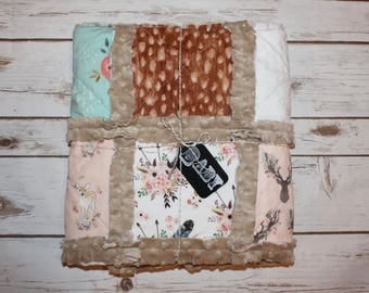 Modern Rag Quilt~Floral Fawn~Baby Blanket~Minky