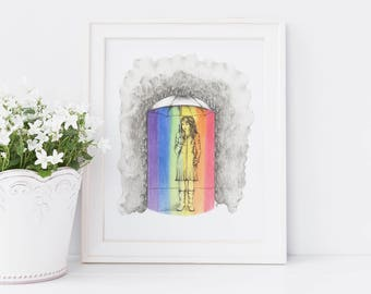 Rainbow art print, rainbow theme art, rain illustration, umbrella art, spring illustration, umbrella, whimsical art, happy art,bright colour