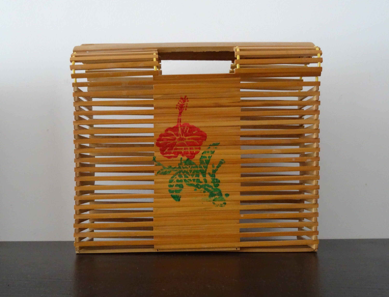 sac en bambou / fleur hibiscus / martinique / west indies