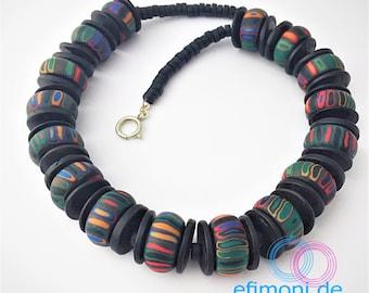 "Necklace Polymer Clay 49cm modern ""Pillars"" handmade Polymer Clay Rocailles Efimoni"